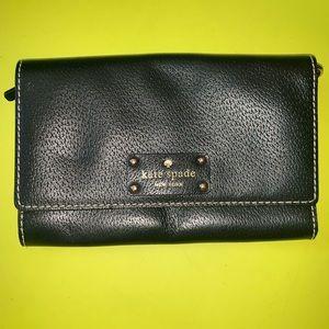 Brand New Kate Spade Foldover Black Clutch